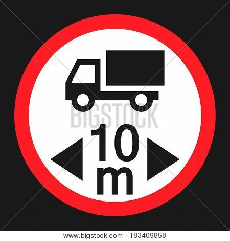 Maximum vehicle length sign flat icon, Traffic and road sign, vector graphics, a solid pattern on a black background, eps 10.