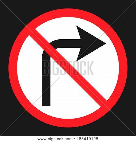 No Right prohibition turn sign flat icon, Traffic and road sign, vector graphics, a solid pattern on a black background, eps 10.