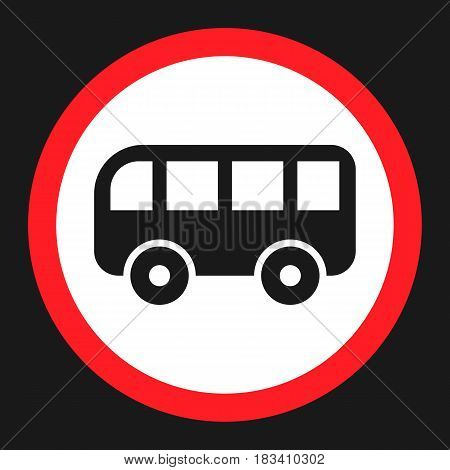 No bus prohibition sign flat icon, Traffic and road sign, vector graphics, a solid pattern on a black background, eps 10.