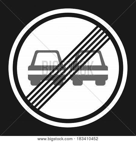 The end of prohibition of overtaking sign flat icon, Traffic and road sign, vector graphics, a solid pattern on a black background, eps 10.