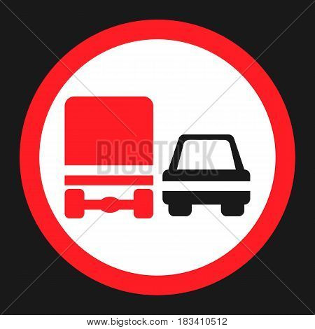 Overtaking ban for truck prohibition signf flat icon, Traffic and road sign, vector graphics, a solid pattern on a black background, eps 10.