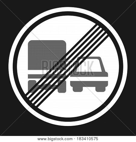 End of prohibition overtaking for trucks sign flat icon, Traffic and road sign, vector graphics, a solid pattern on a black background, eps 10.