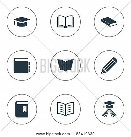 Vector Illustration Set Of Simple Education Icons. Elements Pen, Book Cover, Notebook And Other Synonyms Page, Writing And Textbook.