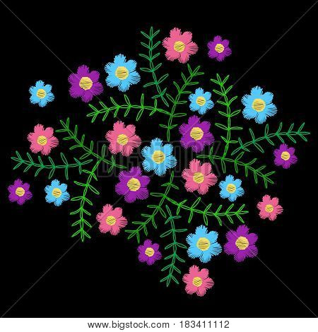 Embroidery stitches imitation with little colorful flower and green leaf. Vector embroidery floral folk pattern on the black background.