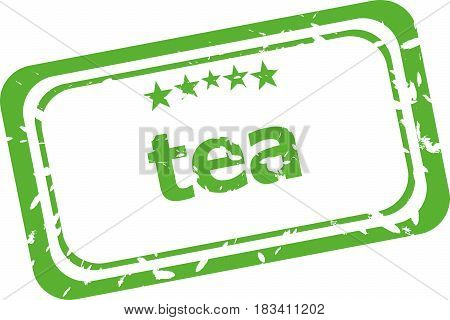 Tea Grunge Rubber Stamp Isolated On White Background