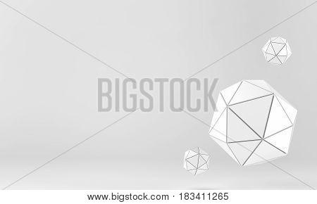 White geo shpere background. 3 d rendering