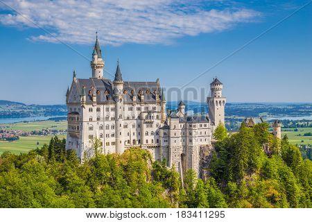 Neuschwanstein Castle In Summer, Bavaria, Germany