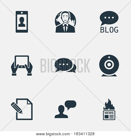 Vector Illustration Set Of Simple User Icons. Elements Site, Profile, Notepad And Other Synonyms Profile, Writing And Debate.