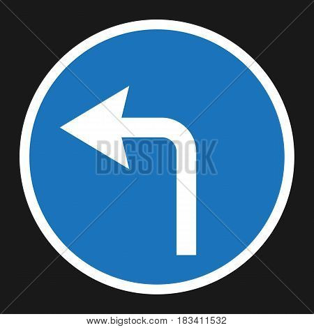 turn left arrow sign flat icon, Traffic and road sign, vector graphics, a solid pattern on a black background, eps 10