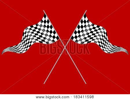 Crossed flags depicting sports or finish lines on a red background