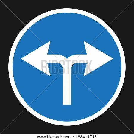 turn left or right traffic sign flat icon, Traffic and road sign, vector graphics, a solid pattern on a black background, eps 10