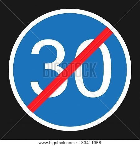 End Minimum Speed Sign 30 flat icon, Traffic and road sign, vector graphics, a solid pattern on a black background, eps 10