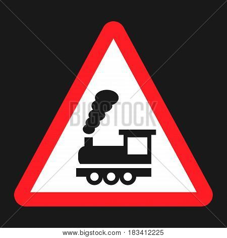 Railroad crossing without barrier sign flat icon, Traffic and road sign, vector graphics, a solid pattern on a black background, eps 10