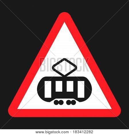 Crossing with a tram sign line flat icon, Traffic and road sign, vector graphics, a solid pattern on a black background, eps 10