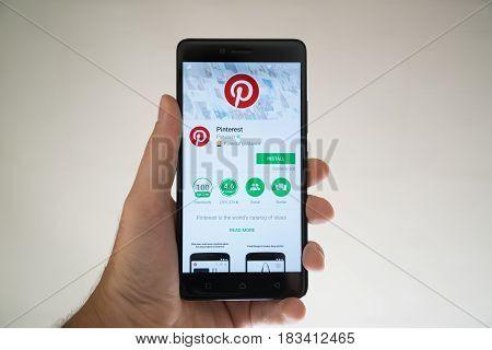 Paris, France, april 22, 2017: Pinterest application on google play store on smartphone