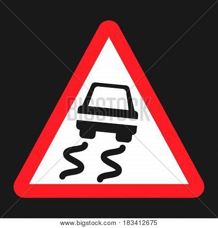 Slippery road sign flat icon, Traffic and road sign, vector graphics, a solid pattern on a black background, eps 10