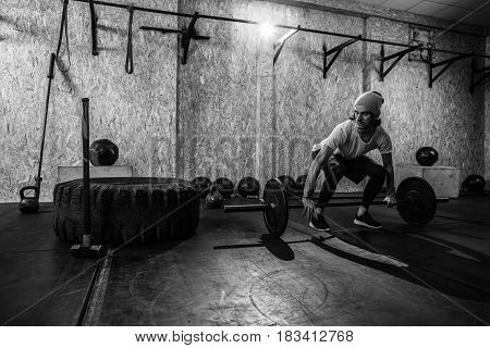 Sport Fitness Man Lifting Barbell Crossfit Training, Young Healthy Guy Doing Exercise Gym Interior