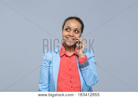 Young Business Woman Speaking Cell Smart Phone Call African American Girl Happy Smile Businesswoman Looking To Copy Space Isolated Over Gray Background