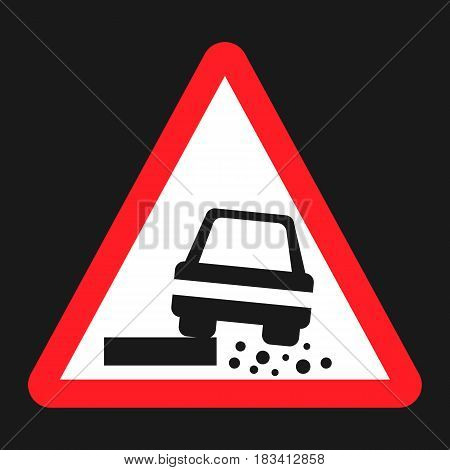 Dangerous Roadside and shoulder sign flat icon, Traffic and road sign, vector graphics, a solid pattern on a black background, eps 10