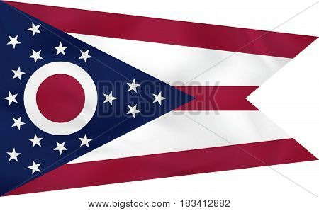 Ohio Waving Flag. Ohio State Flag Background Texture.