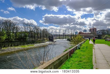Walking beside the River Lea at Bow East London in Springtime.