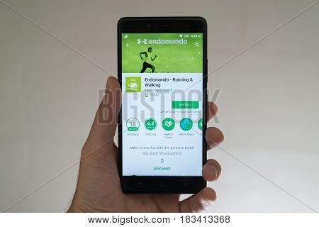 Paris, France, april 22, 2017: Endomondo application on google play store on smartphone
