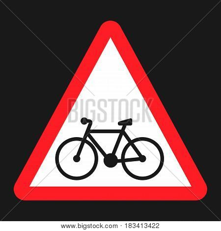 Bicycle and bike lane sign flat icon, Traffic and road sign, vector graphics, a solid pattern on a black background, eps 10