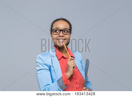 Young Business Woman Think Looking To Empty Copy Space African American Girl Happy Smile Businesswoman Isolated Over Gray Background