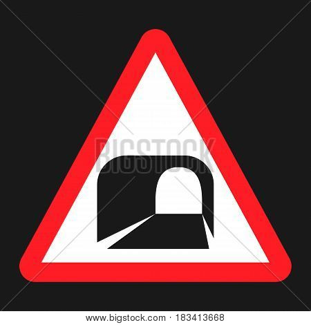 Tunnel ahead sign flat icon, Traffic and road sign, vector graphics, a solid pattern on a black background, eps 10