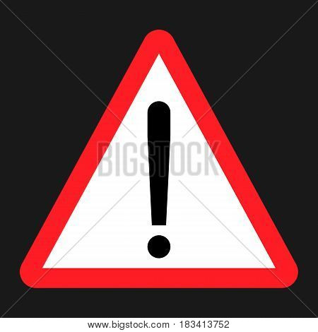 Warning hazard sign flat icon, Traffic and road sign, vector graphics, a solid pattern on a black background, eps 10