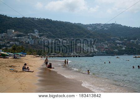 Acapulco, Mexico, circa february 2017: Acapulco beach in Acapulco de Juarez, Mexico