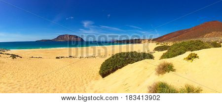 Beach sand, blue sky and amazing landscape