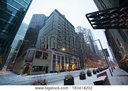 Toronto, Canada, circa february 2017: Toronto city center in snowy winter