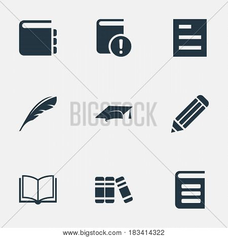 Vector Illustration Set Of Simple Reading Icons. Elements Tasklist, Journal, Pen And Other Synonyms Cap, Pen And Document.