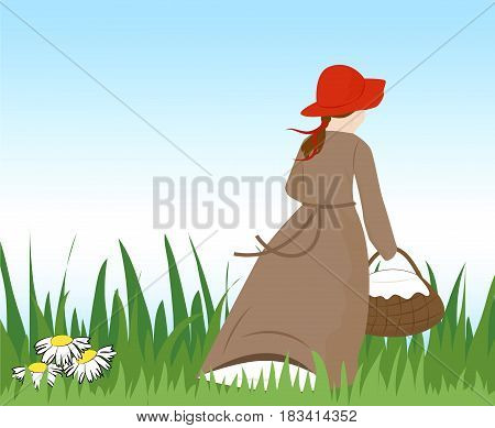 A little girl in a red hat with a basket runs away. Vector illustration