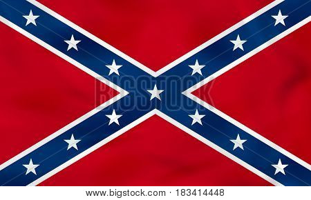 Confederate Waving Flag. Confederate State Flag Background Texture.