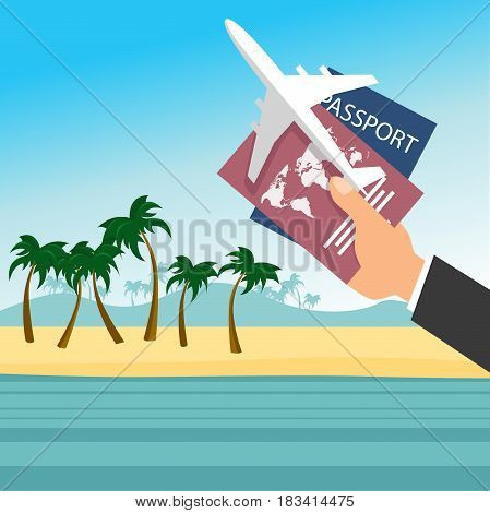 Businessman's hand holding a passport with airplane over tropical beach. Flight travel concept