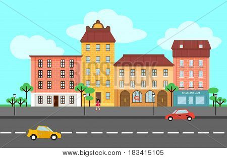 Colorful spring city landscape template with different buildings walking woman trees and cars vector illustration