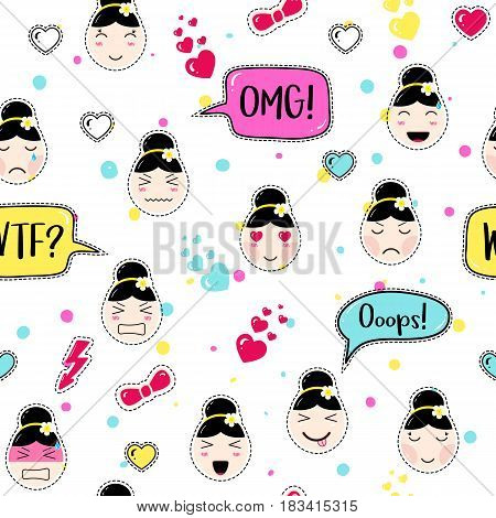 Emoji seamless pattern in asian style with anime emoticons girls. Tillable background for fabric, print, textile, wrapping paper or wallpaper, craft, embroidery, scrapbook. Cute girl emoji stickers.