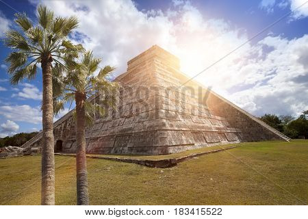 Famous El Castillo pyramid (The Kukulkan Temple feathered serpent pyramid) at Maya archaeological site of Chichen Itza in Yucatan Mexico