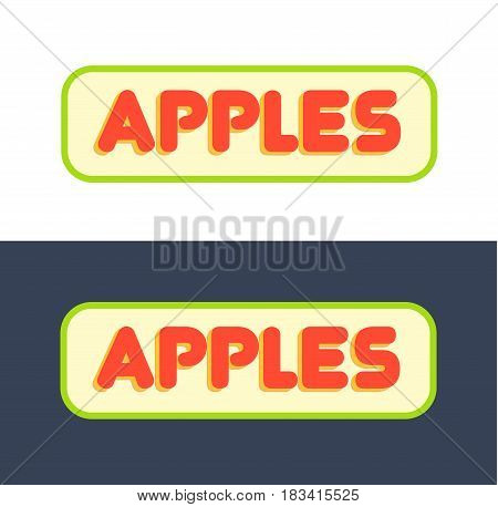 Set of Vector Logos for Market with Fruits and Grocer Store Vector Illustration isolated on White and Dark Background.
