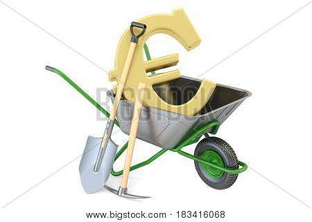 Garden wheelbarrow with euro symbol 3D rendering isolated on white background