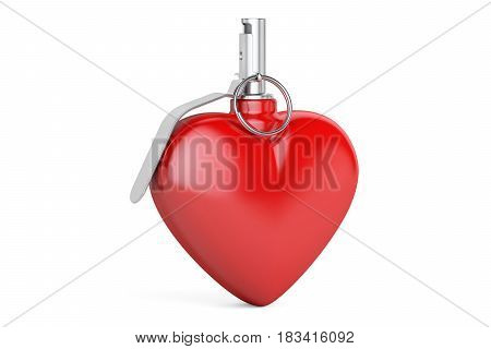 Heart Grenade 3D rendering isolated on white background