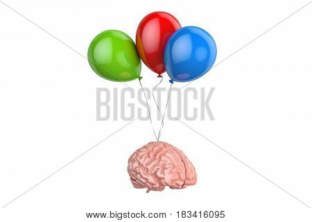 Human Brain with party balloons 3D rendering isolated on white background