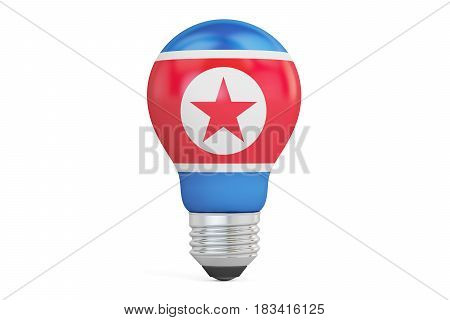 Light bulb with North Korea flag 3D rendering isolated on white background