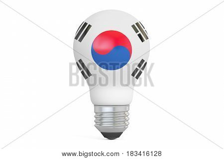 Light bulb with South Korea flag 3D rendering isolated on white background