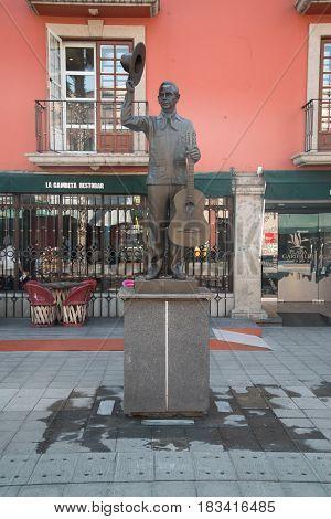 Mexico City, circa february 2017: Mariachi statue Plaza Garibaldi in Mexico City