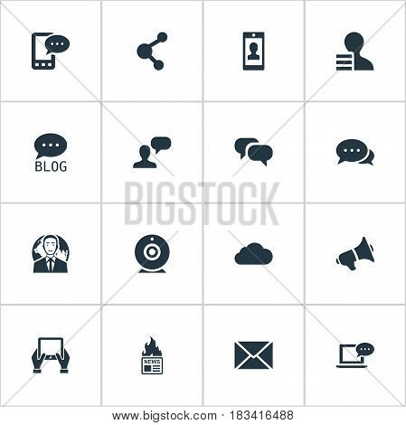 Vector Illustration Set Of Simple Blogging Icons. Elements Laptop, Loudspeaker, Broadcast And Other Synonyms Speaker, Conversation And Earnings.