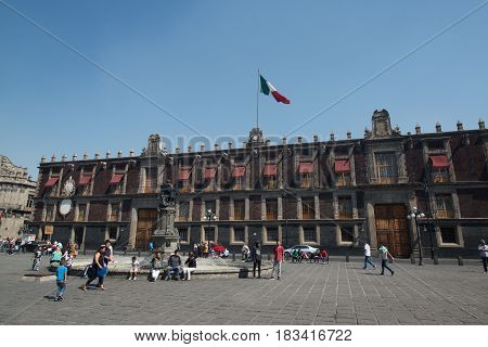 Mexico city, circa february 2017: Plaza de Santo Domingo in Mexico city