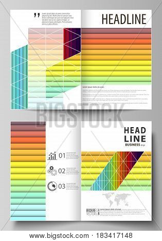 Business templates for bi fold brochure, magazine, flyer, booklet or annual report. Cover design template, easy editable vector, abstract flat layout in A4 size. Bright color rectangles, colorful design with overlapping geometric rectangular shapes formin
